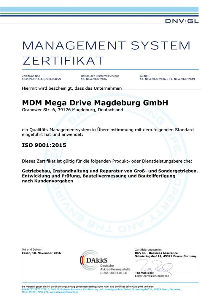 Zertifizierung nach ISO 9001:2015 – MDM